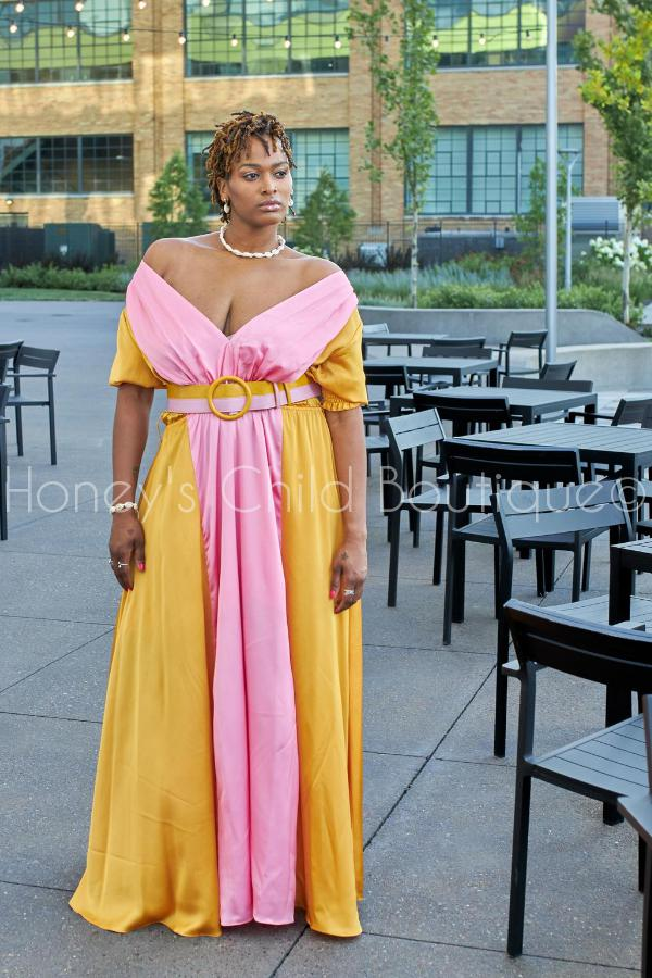 Pink Lemonade Belted Maxi Dress-Dress-Latiste-[plus_size]-Honey's Child Boutique
