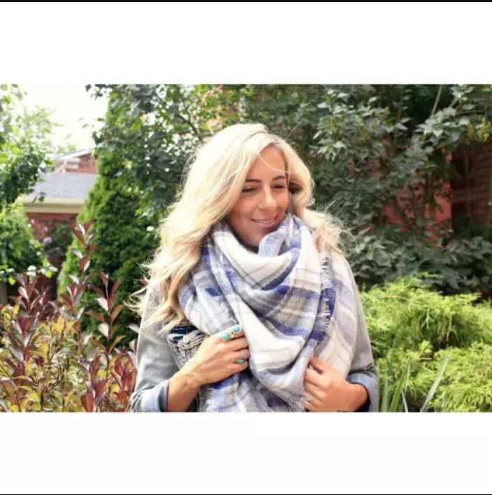 Denim Plaid Cashmere Blanket Scarf