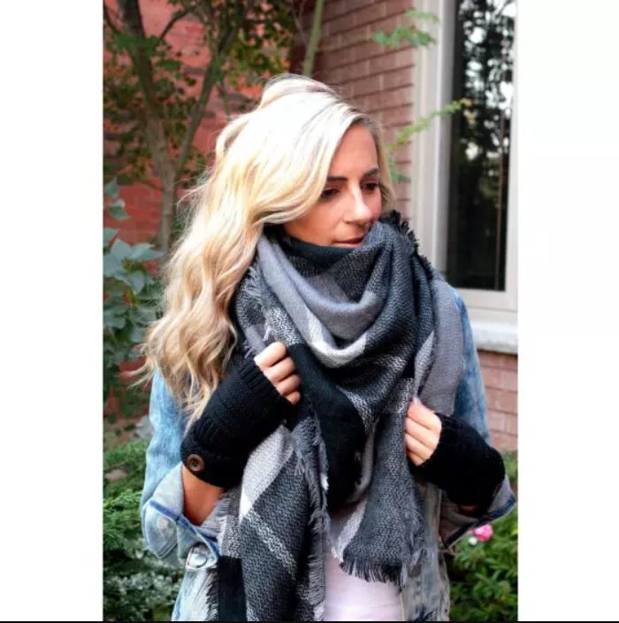 Greys and White Cashmere Blanket Scarf