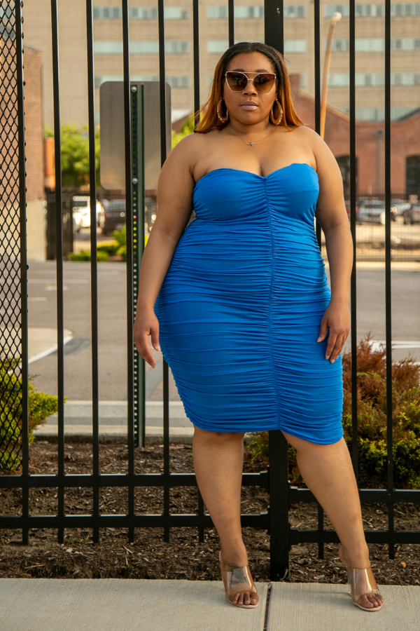 Bodied Ruched Strapless Dress