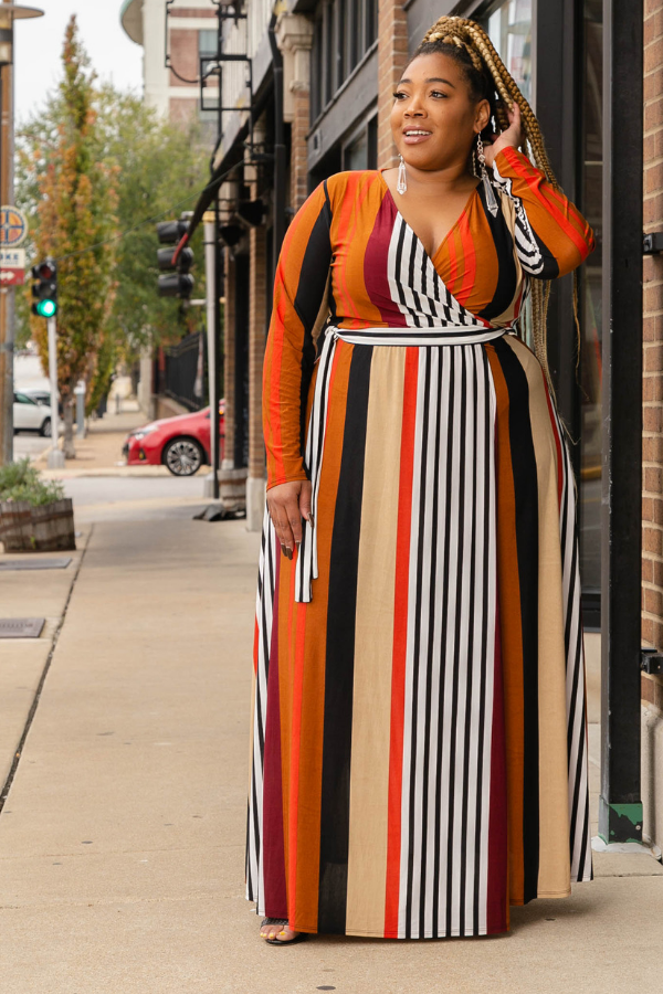 In the Mix Stripe Maxi Dress