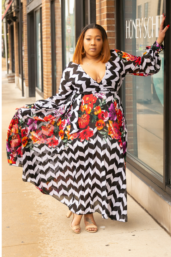 Chevron Bomb Maxi Dress