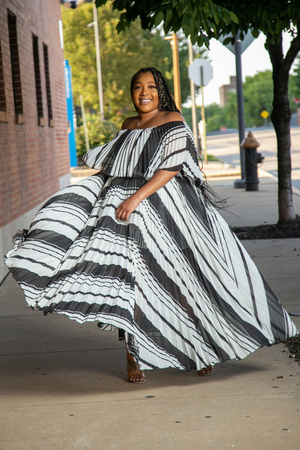 High Life Pleated Maxi - Chevron