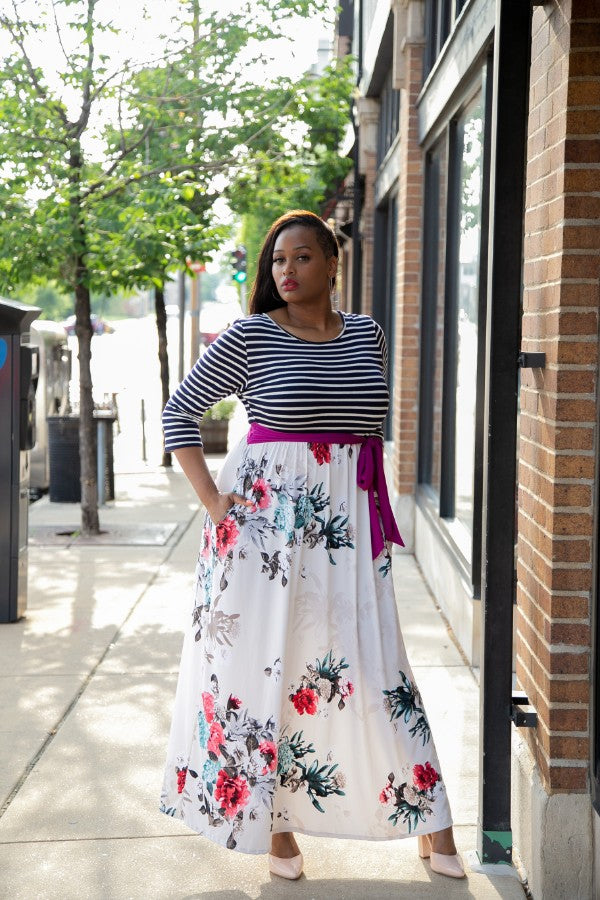 Mixed Media Maxi Dress