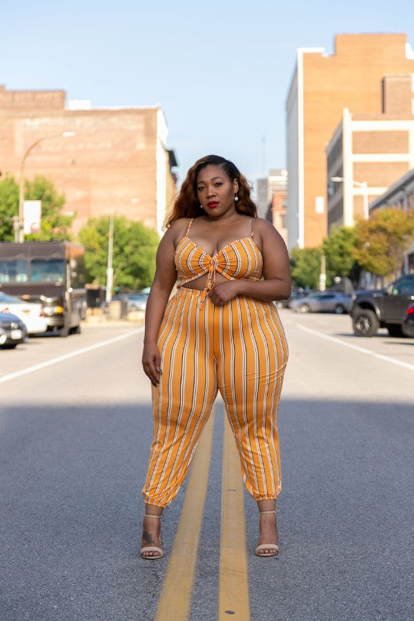 Tangerine Stripe Take A Peek Jumpsuit