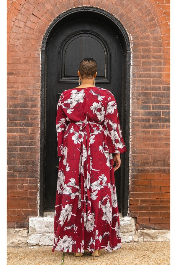 Cabernet Nights Floral Maxi Dress