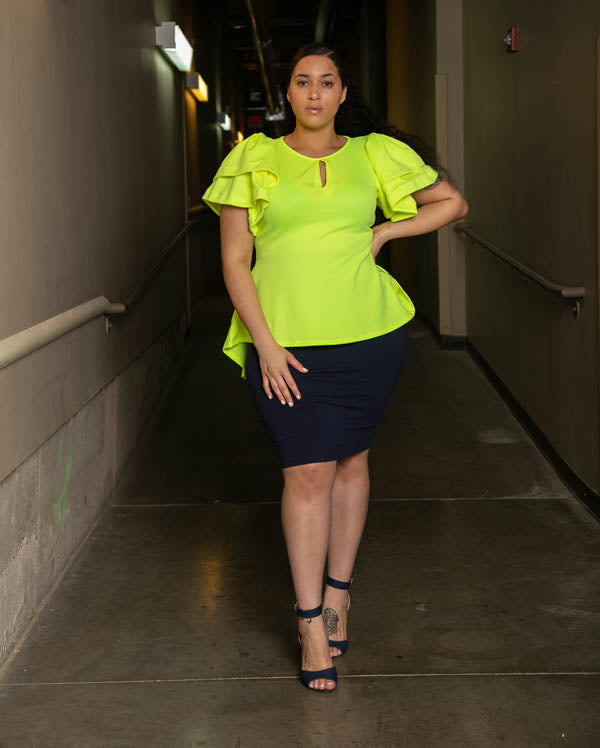 All a Dream Ruffle Sleeve Top - Neon Yellow