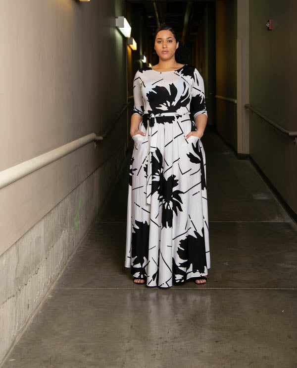On The Scene Abstract Floral Maxi Dress