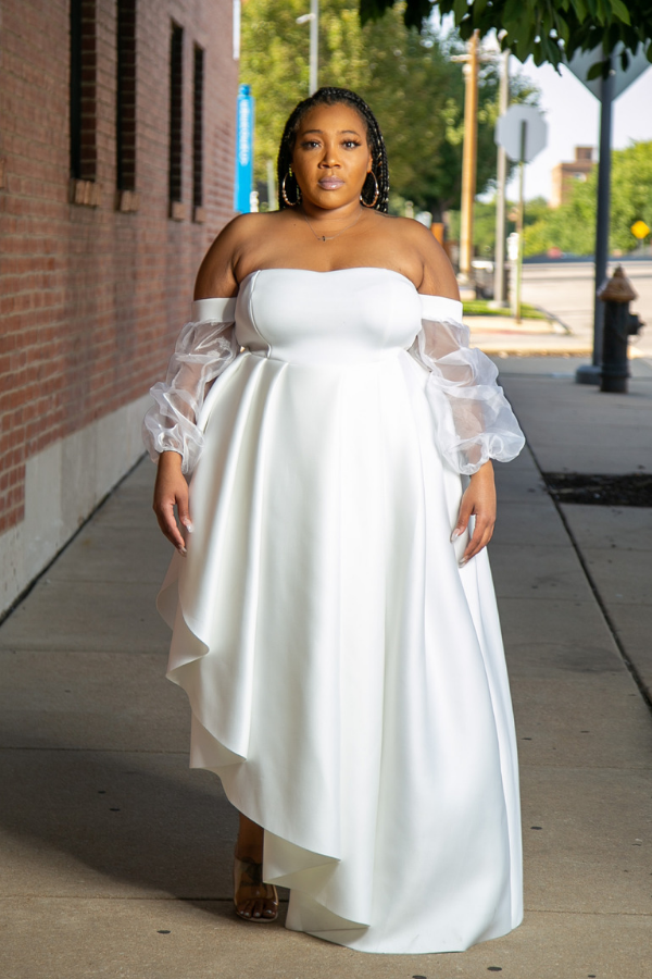 I Do White Asymetrical Gown