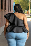 Janelle One shoulder Peplum Top