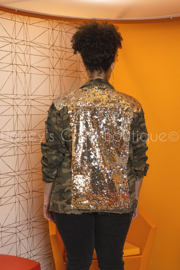 Manchester Distressed Denim Sequins Jacket - Camo