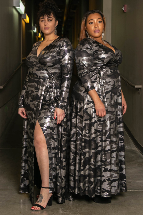 Queen's Army Silver Metallic Camo Maxi