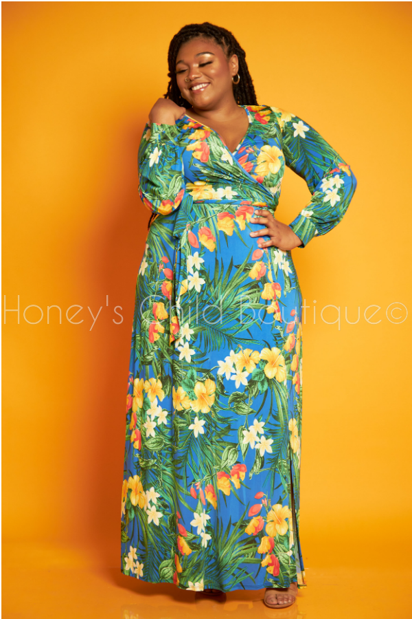 Wild Orchid Floral Maxi Dress-Dress-Sexy Diva-[plus_size]-Honey's Child Boutique