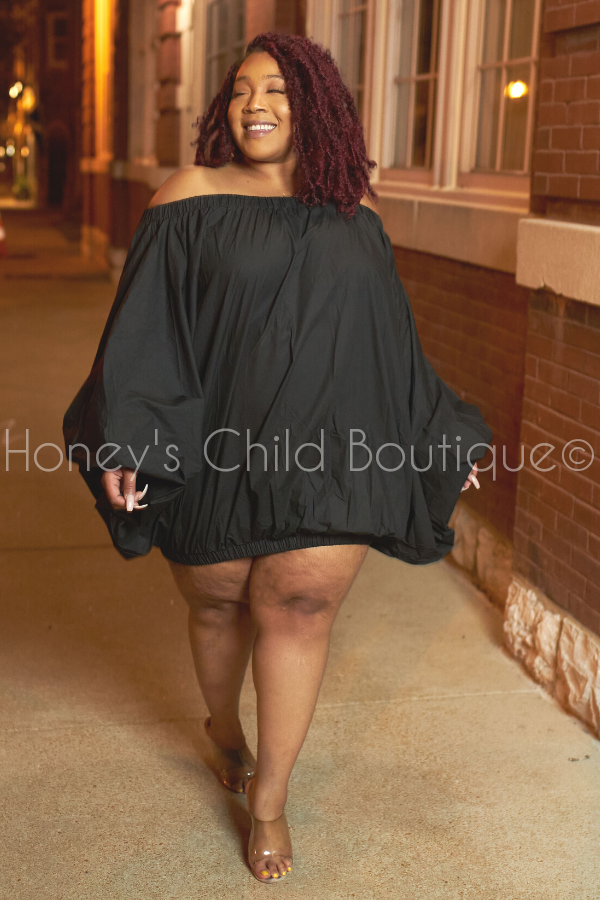 Bonjour Off the Shoulder Balloon Dress/Top-Dress-Highlight-[plus_size]-Honey's Child Boutique