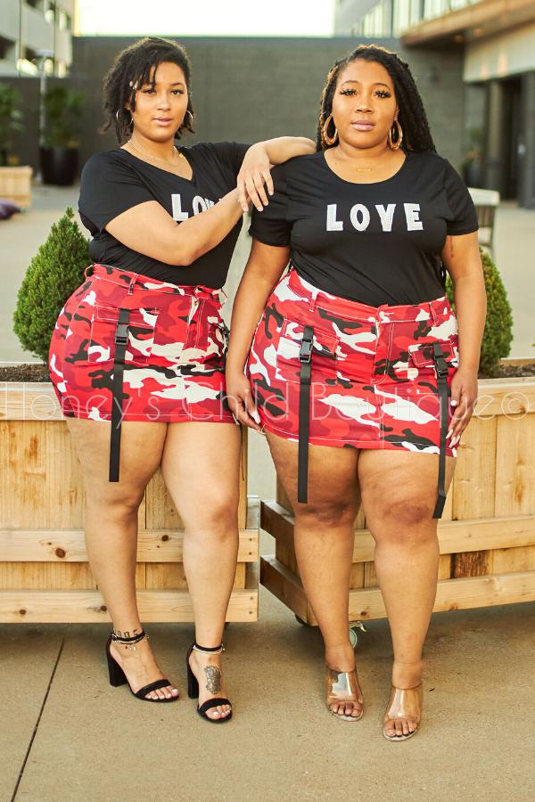 City Girl Red Camo Mini Cargo Skirt-Skirt-Kreamy-[plus_size]-Honey's Child Boutique