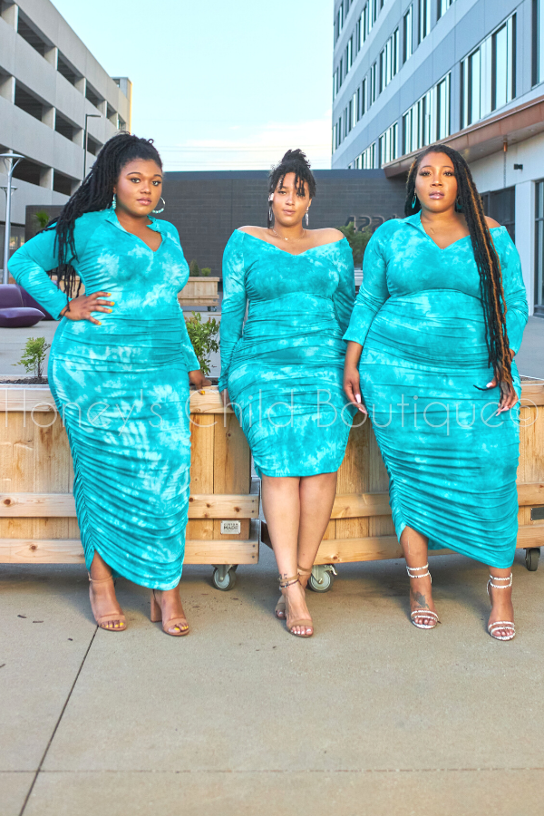 Deep Sea Tie Dye Midi Dress - Jade-Dress-Good Time-[plus_size]-Honey's Child Boutique