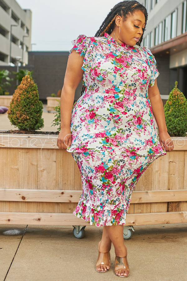 Garden Party Floral Lace Midi Dress-Dress-Latiste-[plus_size]-Honey's Child Boutique