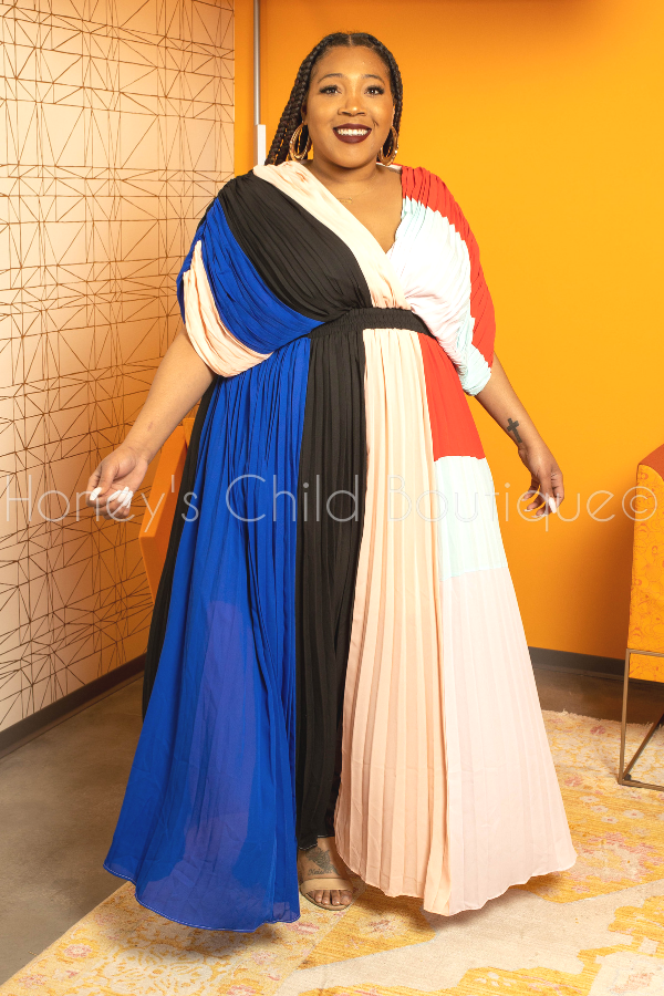 Get Away Chiffon Color Block Maxi Dress