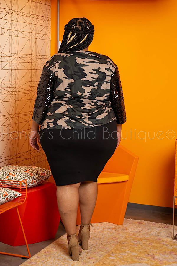 Army Wife Camouflage Sequins Sleeve Top
