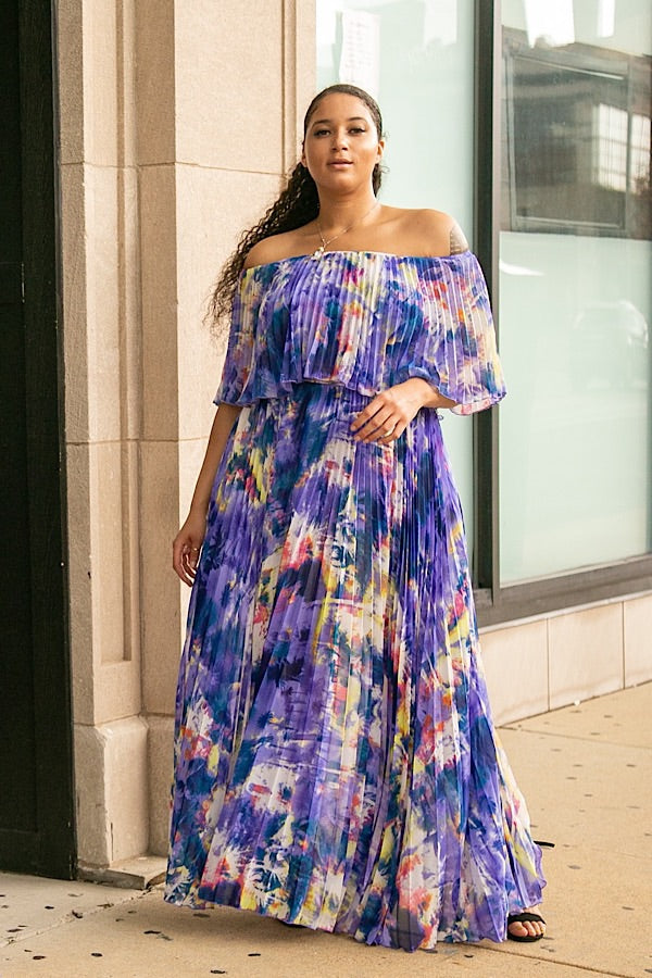Mystic Tie Dye Chiffon Maxi Dress