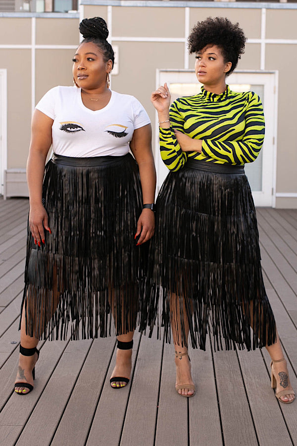 Foxy Brown Fringe Leatherette Skirt