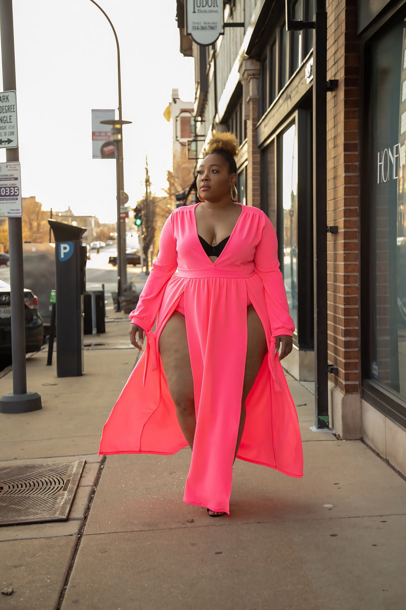 Bae-cation Neon Pink Maxi Dress