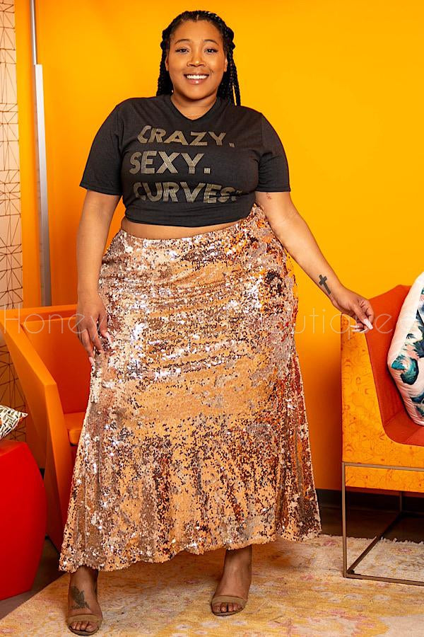 Jaded Rose Gold Sequins Mermaid Maxi Skirt