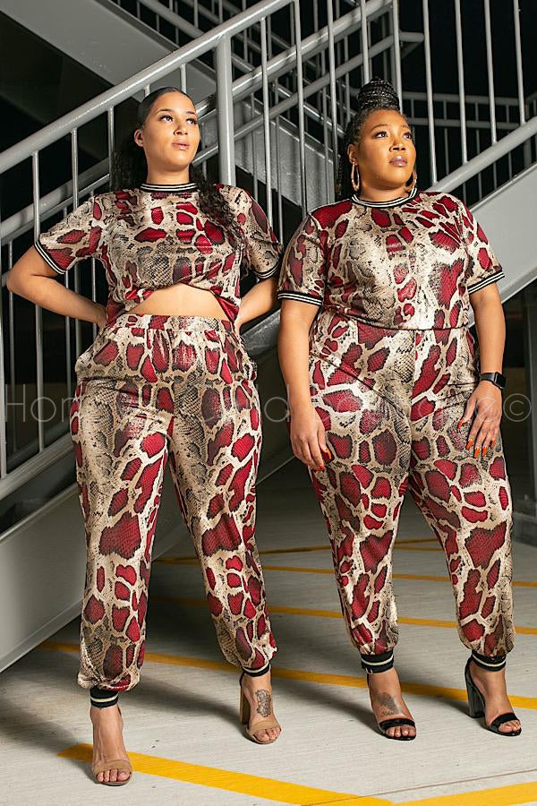 Red Mamba Sparkle Snake Pants Set