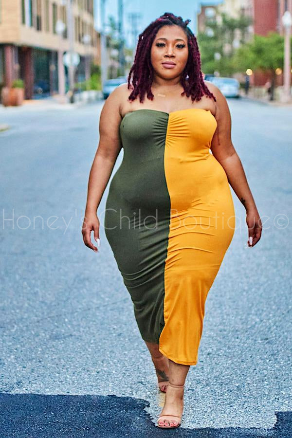YinYang Color Block Tube Dress-220 - Midi Dress-The Curve LA-[plus_size]-Honey's Child Boutique