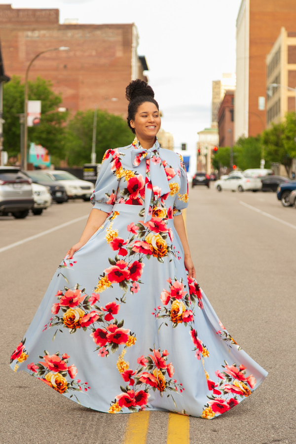 Secret Garden Floral Bow Tie Maxi