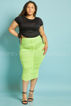 Paparazzi Ruched Midi Skirt - Lime