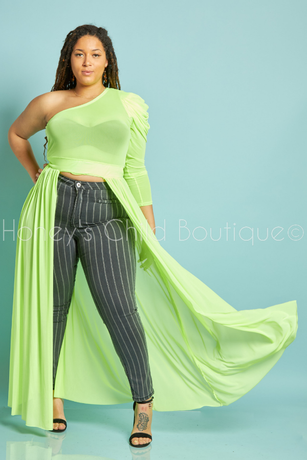 Temptress Puff Sleeve One Shoulder Top - Lime