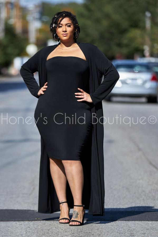 Moving Forward Tube Dress & Duster Set - Black-300 Sets, Dressy-Sexy Diva-[plus_size]-Honey's Child Boutique