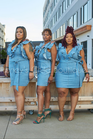 No Excuses Ruffle Denim Dress-Dress-Latiste-[plus_size]-Honey's Child Boutique