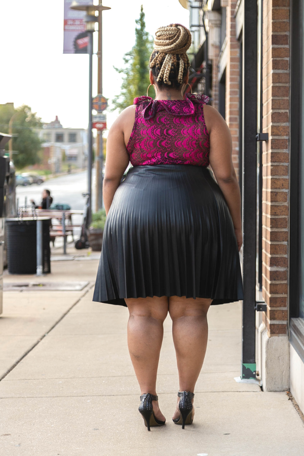 One Accord Vegan Leather Skater Skirt