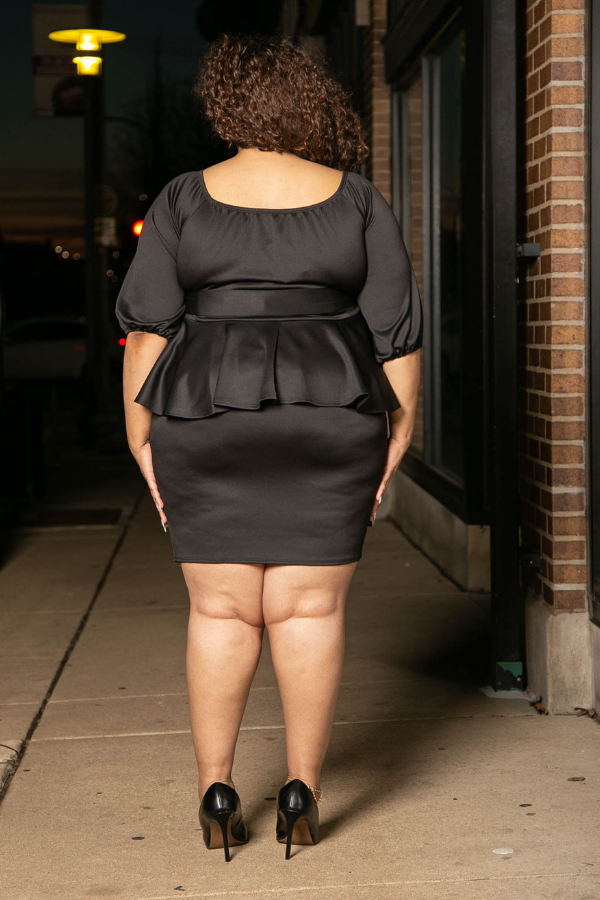 Onyx Peplum Dress