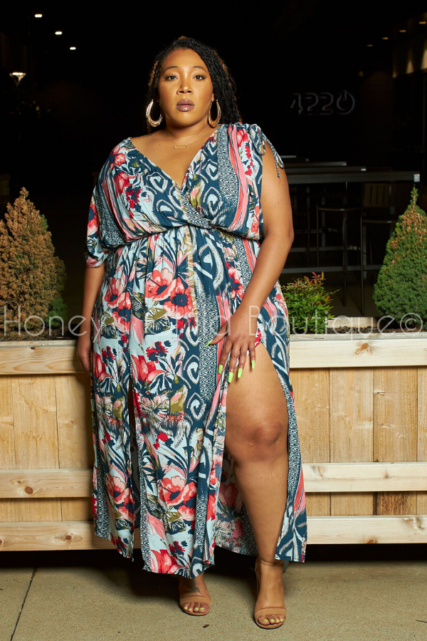 Pura Vida Multi Color Maxi Dress-Dress-The Curve LA-[plus_size]-Honey's Child Boutique
