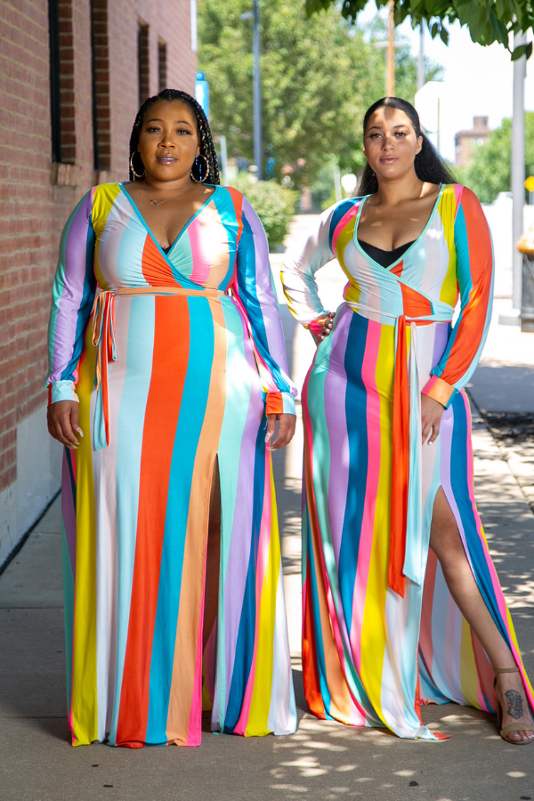 Rio Pastel Stripe Maxi Dress