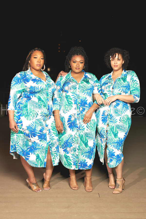 Summertime Bliss Leaf Print Shirt Dress-Dress-Sexy Diva-[plus_size]-Honey's Child Boutique