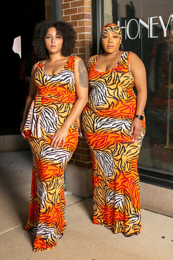 Tiger Stripes Mermaid Maxi Dress