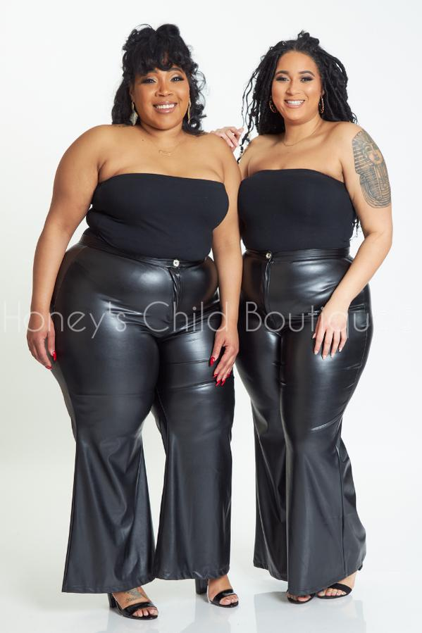 Yeah Baby Vegan Leather Bell Bottoms-600 Bottoms-Sexy Diva-[plus_size]-Honey's Child Boutique