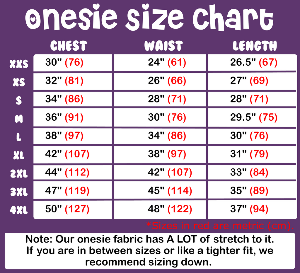 Adult Onesie Little Space Sizing Chart