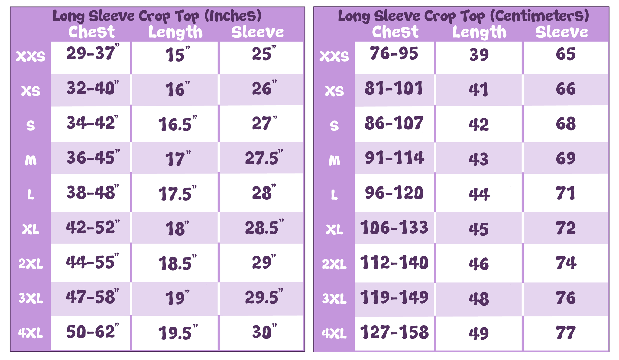 Long Sleeve Crop Top w/Thumb Holes Size Chart