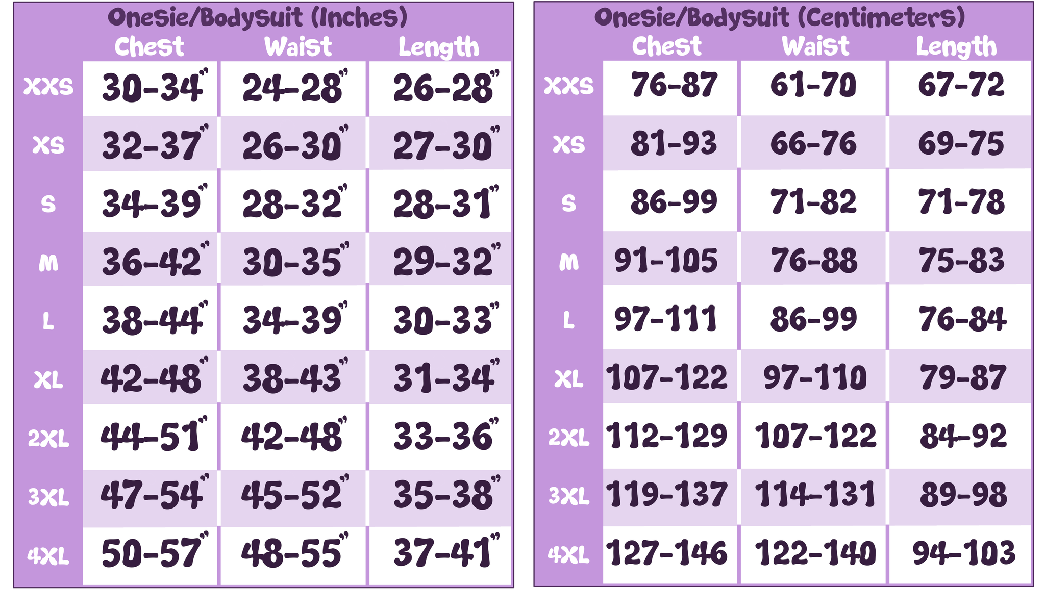 Onesie aka Bodysuit Measurement Chart