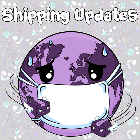 Shipping Updates Graphic with World Wearing Mask and Mean Packages