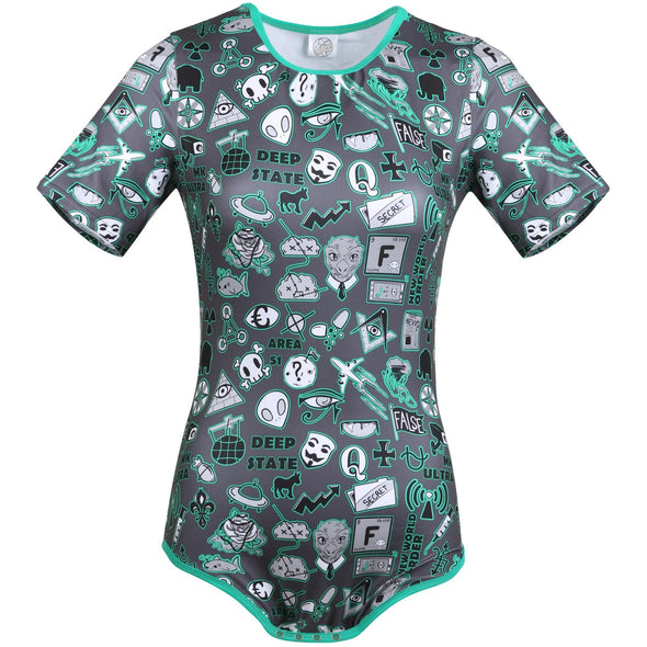 Deep State Conspiracy Onesie Front-Facing Image. A onesie with a dark gray background featuring symbols of popular conspiracy theories shaded in green. This onesie has green trim that matches the shading on the symbols.