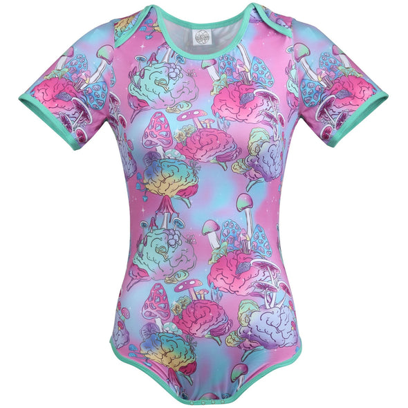 The Fungi Onesie has a magical blue and pink background with clusters of colorful fungi sprouting from a colorful brain.