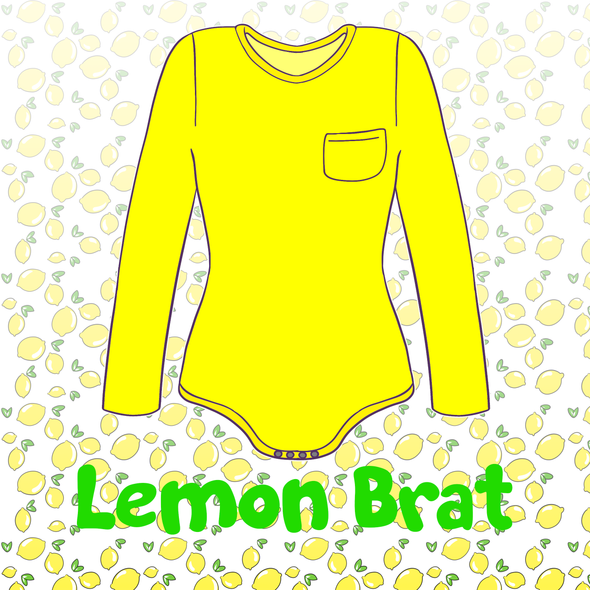 Lemon Brat Long-Sleeved Onesie with Pocket
