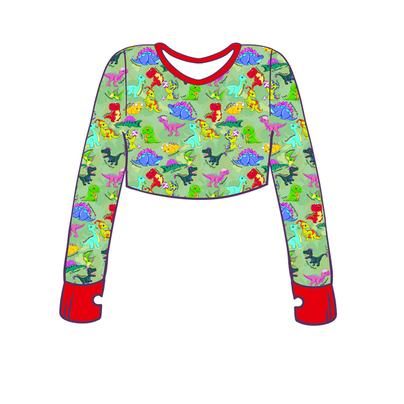 Prehistoric Playmates Long Sleeve Crop Top w/ Thumb Holes