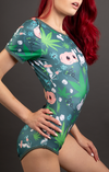 Dark Green Trim High Q Onesie - Side Shot